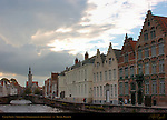 Canal Scene: Houses on the Spiegelrei, Poortersloge Burgher's Lodge in the distance, Bruges, Brugge, Belgium