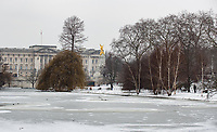 The lakes freeze over in St James's Park outside of Buckingham palace in Snow in London as Beast from the East weather continues at City of London, London, England on 1 March 2018. Photo by Andy Rowland.