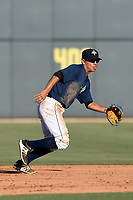 Shortstop Andres Gimenez (13) of the Columbia Fireflies plays defense in a game against the Augusta GreenJackets on Sunday, July 30, 2017, at Spirit Communications Park in Columbia, South Carolina. Augusta won, 6-0. (Tom Priddy/Four Seam Images)