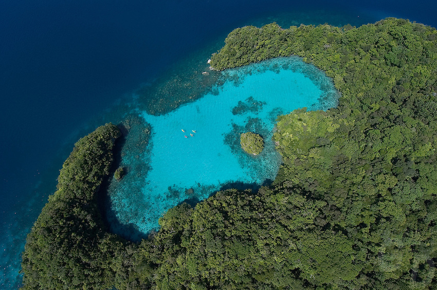 Aerial view of Pinchers lagoon, with Kayakers, Palau Micronesia