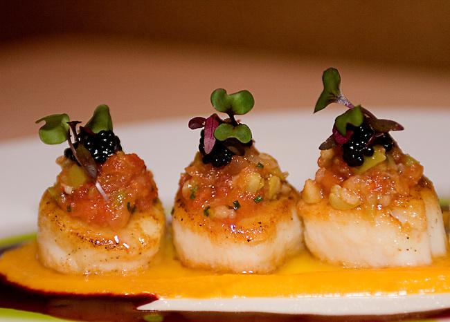 Urena Restaurant, Roasted Scallops, Amanita Olive and Tomato Salpicon, Rioja-red Beet Sauce, Avruga Caviar
