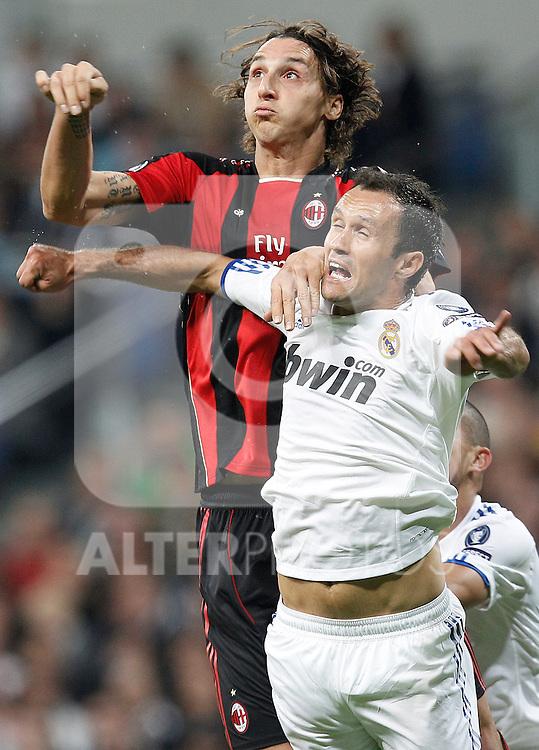 Real Madrid's Ricardo Carvalho and Milan's Zlatan Ibrahimovic during champions league match ..Photo: Cesar Cebolla  / ALFAQUI