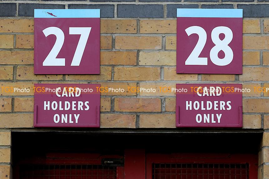 Turnstiles 27 and 28 signs ahead of West Ham United Ladies vs Tottenham Hotspur Ladies, FA Women's Premier League Football at the Boleyn Ground, Upton Park