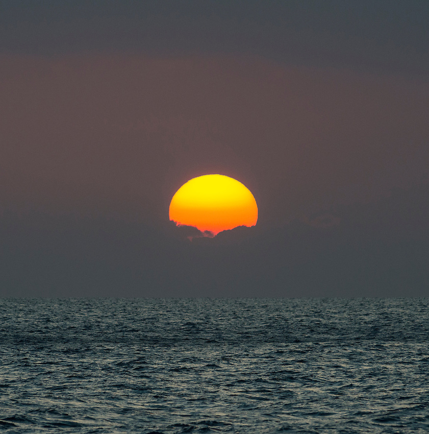 A sunset seen from a Pacific Whale Foundation whale watch boat on Maalaea Bay, Maui