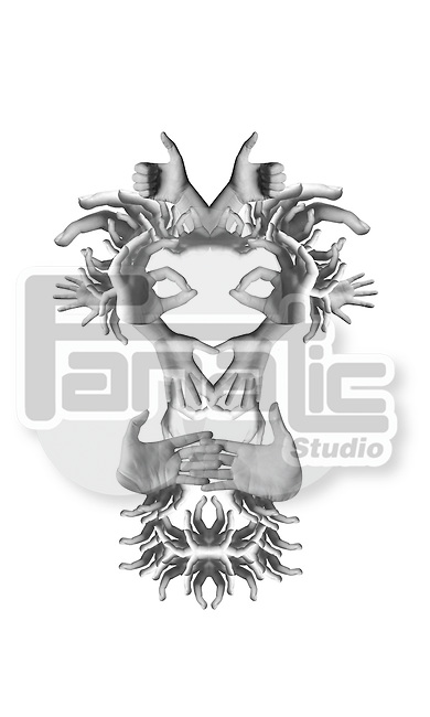 Illustrative image of hands forming face over white background