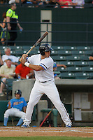 Myrtle Beach Pelicans outfielder Mark Zagunis (6) at bat during game two of a doubleheader against the Carolina Mudcats at Ticketreturn.com Field at Pelicans Ballpark on June 6, 2015 in Myrtle Beach, South Carolina. During the game the Pelicans wore special Myrtle Beach Hurricanes throwback jerseys. The Myrtle Beach Hurricanes were a minor league team affiliated with the Toronto Blue Jays who played on the Grand Strand during the early 1990's. Carolina defeated Myrtle Beach 4-2. (Robert Gurganus/Four Seam Images)