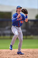 New York Mets Brett Baty (96) catches a throw during a Minor League Spring Training game against the Houston Astros on April 27, 2021 at FITTEAM Ballpark of the Palm Beaches in Palm Beach, Fla.  (Mike Janes/Four Seam Images)