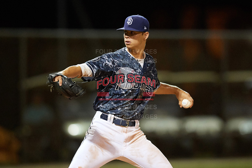 Connor Scott (24) while playing for Padres Scout Team/Scorpions based out of Altamonte Springs, Florida during the WWBA World Championship at the Roger Dean Complex on October 21, 2017 in Jupiter, Florida.  Connor Scott is a outfielder / pitcher from Tampa, Florida who attends Plant High School.  (Mike Janes/Four Seam Images)