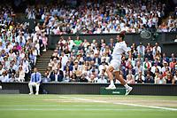 11th July 2021, Wimbledon SW London England, AELTC Wimbledon Tennis Championships, mens final, Novak Djokovic (Ser)  versus Matteo Berrettini (Ita); Novak Djokovic (Ser) returns