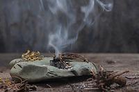 Räuchern mit Baldrianwurzeln und Schlüsselblumen-Blüten und Räucherkohle, Räucherritual, Räuchern mit Kräutern, Kräuter verräuchern, Wildkräuter, Duftkräuter, Duft, Smoking with herbs, wild herbs, aromatic herbs, fumigate, cure, censer, incense burner, perfume burner. Baldrian-Wurzel, Baldrian-Wurzeln, Valerianae radix, Baldrian, Echter Baldrian, Echter Arznei-Baldrian, Arzneibaldrian, Katzenwurzel, Wurzel, Wurzeln, Wurzelstock, Valeriana officinalis, Common Valerian, Root, Roots, root stock, Valériane officinale. Schlüsselblumen-Blüten, Blüten von Schlüsselblume, Hohe Schlüsselblume, Wald-Schlüsselblume, Waldschlüsselblume, Primel, Primula elatior, Oxlip, true oxlip, Paigles, La Primevère élevée, Primevère des bois