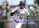 Reno Aces' Socrates Brito runs the bases against the Fresno Grizzlies at Greater Nevada Field in Reno, Nev., on Tuesday, April 26, 2016. <br />
