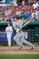 West Michigan Whitecaps right fielder Brady Policelli (6) reaches on an error during a game against the Kane County Cougars on July 19, 2018 at Northwestern Medicine Field in Geneva, Illinois.  Kane County defeated West Michigan 8-5.  (Mike Janes/Four Seam Images)