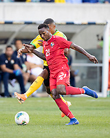 PHILADELPHIA, PA - JUNE 30: Leon Bailey #7 and Omar Browne #21 contest the ball during a game between Panama and Jamaica at Lincoln Financial FIeld on June 30, 2019 in Philadelphia, Pennsylvania.