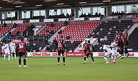 31st October 2020; Vitality Stadium, Bournemouth, Dorset, England; English Football League Championship Football, Bournemouth Athletic versus Derby County; the free kick from Wayne Rooney of Derby County rebounds off the wall