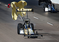 Oct. 15, 2011; Chandler, AZ, USA; NHRA top fuel dragster driver Tony Schumacher during qualifying at the Arizona Nationals at Firebird International Raceway. Mandatory Credit: Mark J. Rebilas-
