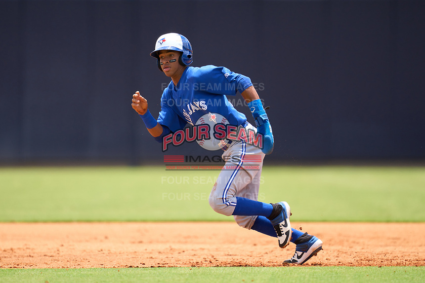 FCL Blue Jays Angel Del Rosario (43) running the bases during a game against the FCL Yankees on June 29, 2021 at the Yankees Minor League Complex in Tampa, Florida.  (Mike Janes/Four Seam Images)
