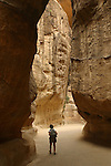 The Siq (1, 5 km long on sandstone cliffs) was created by an earthquake and polished by the waters of Wadi Mousa. Petra. Jordan