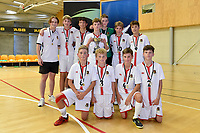 Hamilton Boys' High School pose after winning first place in the Futsal NZ Secondary Schools Junior Boys Final between Hamilton Boys High School and Selwyn College at ASB Sports Centre, Wellington on 26 March 2021.<br /> Copyright photo: Masanori Udagawa /  www.photosport.nz