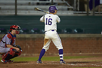 Nate Stocum (16) of the Western Carolina Catamounts at bat against the St. John's Red Storm at Childress Field on March 13, 2021 in Cullowhee, North Carolina. (Brian Westerholt/Four Seam Images)