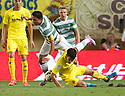 Celtic's Emilio Izaguirre is fouled by Villarreal's Trigueros.