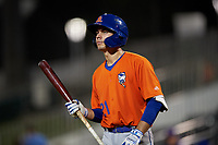 St. Lucie Mets Jimmy Titus (21) walks to the plate during a game against the Fort Myers Mighty Mussels on June 3, 2021 at Hammond Stadium in Fort Myers, Florida.  (Mike Janes/Four Seam Images)