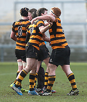 CAI vs RBAI | Tuesday 3rd March 2015<br /> <br /> John Dickson and Andrew McGregor during the 2015 Ulster Schools Cup Semi-Final between Coleraine Inst and RBAI at the Kingspan Stadium, Ravenhill Park, Belfast, Northern Ireland.<br /> <br /> Picture credit: John Dickson / DICKSONDIGITAL