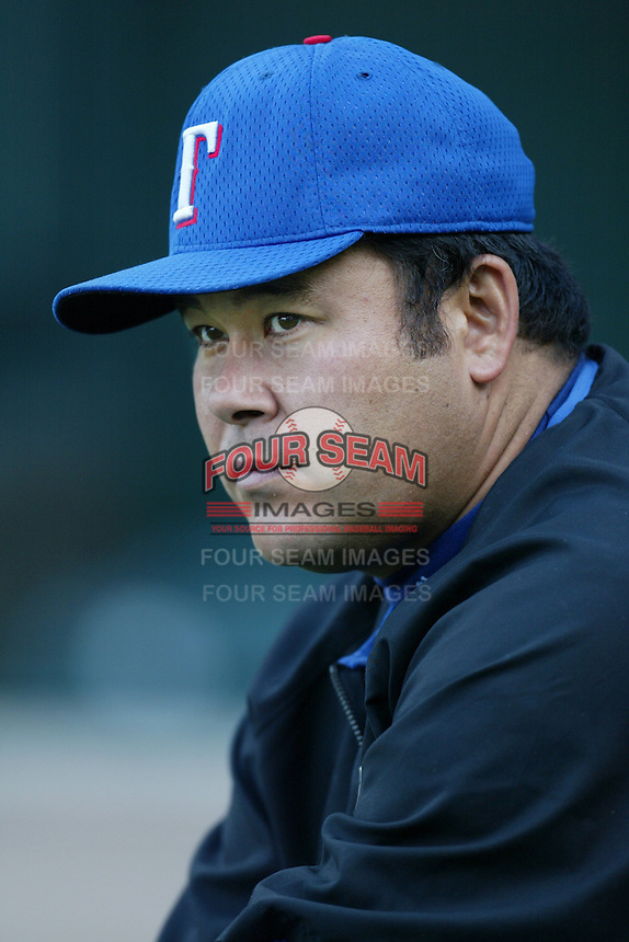Hideki Irabu of the Texas Rangers before a 2002 MLB season game against the Los Angeles Angels at Angel Stadium, in Los Angeles, California. (Larry Goren/Four Seam Images)
