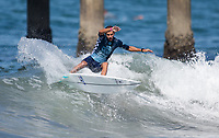Huntington Beach, CA - Tuesday July 31, 2018: Bino Lopes in action during a World Surf League (WSL) Qualifying Series (QS) Men's round of 96 heat at the 2018 Vans U.S. Open of Surfing on South side of the Huntington Beach pier.