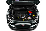 Car Stock 2019 Fiat 500-X Cross 5 Door SUV Engine  high angle detail view
