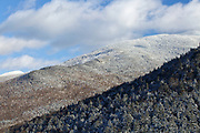 Snow covered forest from Artists Bluff in the White Mountains of New Hampshire.