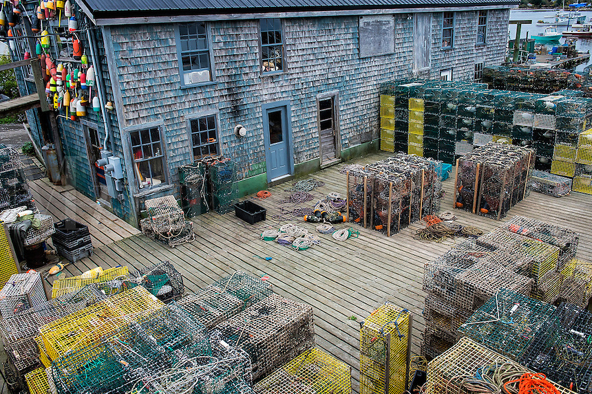 Lobster traps and warehouse, Bernard, Maine, USA
