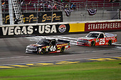 #46: Riley Herbst, Kyle Busch Motorsports, Toyota Tundra Advance Auto Parts and #25: Timothy Peters, GMS Racing, Chevrolet Silverado Kingman Chevrolet
