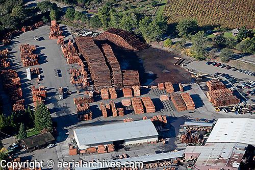 aerial photograph lumber yard Sonoma County, California