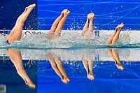 HUNGARY HUN <br /> FARKAS Linda / GACS Boglarka<br /> GOTZ Lilien / HATALA Hanna<br /> HUNGLER Szabina / REGENYI Adelin<br /> RENYI Luca / SZABO Anna Viktoria <br /> TEAM FREE Final <br /> Artistic Swimming<br /> Budapest  - Hungary  14/5/2021<br /> Duna Arena<br /> XXXV LEN European Aquatic Championships<br /> Photo Andrea Staccioli / Deepbluemedia / Insidefoto