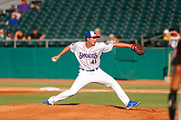 Tennessee Smokies starting pitcher Erich Uelmen (41) delivers a pitch to the plate against the Chattanooga Lookouts at Smokies Stadium on June 18, 2021, in Kodak, Tennessee. (Danny Parker/Four Seam Images)