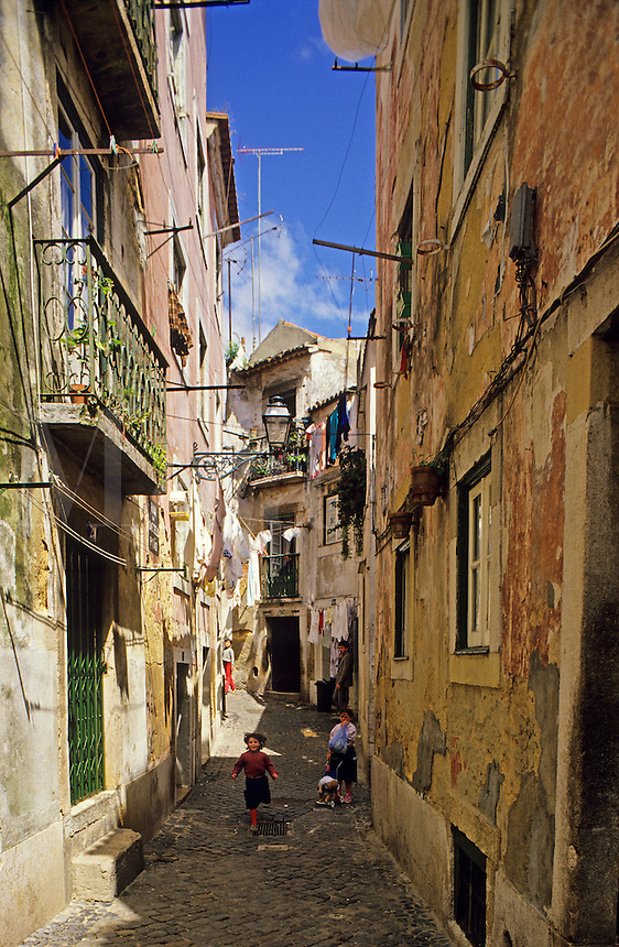 Lisbon, Portugal. Shady alley in the Alfama district.