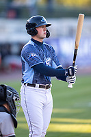 West Michigan Whitecaps third baseman Spencer Torkelson (8) at the plate against the Great Lakes Loons at LMCU Ballpark on May 11, 2021 in Comstock Park, Michigan. The Loons defeated the Whitecaps in their home opener 9-1. (Andrew Woolley/Four Seam Images)