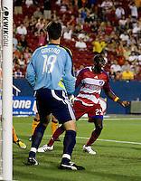 FC Dallas foward Dominic Oduro (25) celebrates Drew Moor's goal to give FC Dallas the 2-1 lead. Houston Dynamo vs FC Dallas at Pizza Hut Park in Frisco, Texas May-28-2008. Final Score 2-2