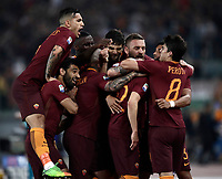 Calcio, Serie A: Roma, stadio Olimpico, 14 maggio 2017.<br /> AS Roma's Stephan El Shaarawy celebrates after scoring with his teammates during the Italian Serie A football match between AS Roma and Juventus at Rome's Olympic stadium, May 14, 2017.<br /> UPDATE IMAGES PRESS/Isabella Bonotto