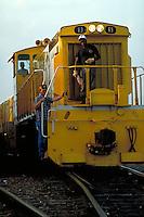 Three man crew on diesel locomotive. Houston Texas USA Houston Belt and Terminal.