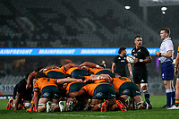 NZ's Aaron Smith prepares to feed a scrum during the Bledisloe Cup rugby match between the New Zealand All Blacks and Australia Wallabies at Eden Park in Auckland, New Zealand on Saturday, 14 August 2021. Photo: Simon Watts / lintottphoto.co.nz / bwmedia.co.nz