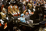 Queen Elizabeth and Earl Spencer in open top carriage after Royal Wedding of Prince Charles to Lady Diana Princess of Wales London UK July 1981
