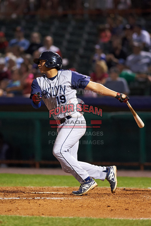 Brooklyn Cyclones outfielder Hengelbert Rojas (19) at bat during a game against the Tri-City ValleyCats on September 1, 2015 at Joseph L. Bruno Stadium in Troy, New York.  Tri-City defeated Brooklyn 5-4.  (Mike Janes/Four Seam Images)