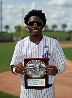 John Carroll Catholic Rams Jay Allen (2) poses with the Most Valuable Player Award after the 42nd Annual FACA All-Star Baseball Classic on June 6, 2021 at Joker Marchant Stadium in Lakeland, Florida.  (Mike Janes/Four Seam Images)