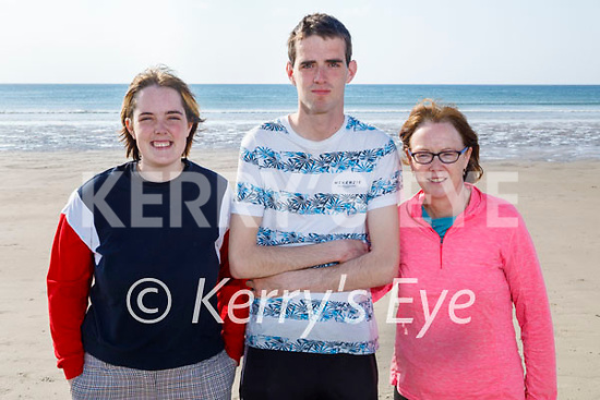 Enjoying a stroll on Banna beach on Thursday, l to r:  Kate, Paul and Anne Moore.