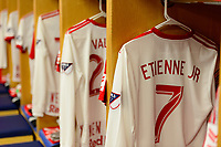 Harrison, NJ - Tuesday April 10, 2018: New York Red Bulls locker room, Derrick Etienne Jr. prior to leg two of a  CONCACAF Champions League semi-final match between the New York Red Bulls and C. D. Guadalajara at Red Bull Arena. C. D. Guadalajara defeated the New York Red Bulls 0-0 (1-0 on aggregate).