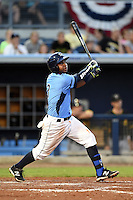 Charlotte Stone Crabs third baseman Hector Guevara (3) during a game against the Bradenton Marauders on April 4, 2014 at Charlotte Sports Park in Port Charlotte, Florida.  Bradenton defeated Charlotte 9-1.  (Mike Janes/Four Seam Images)