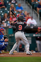 Rochester Red Wings Ramon Flores (9) bats during an International League game against the Buffalo Bisons on August 26, 2019 at Sahlen Field in Buffalo, New York.  Buffalo defeated Rochester 5-4.  (Mike Janes/Four Seam Images)
