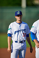 Matt Ditman (38) of the Ogden Raptors before the game against the Orem Owlz in Pioneer League action at Lindquist Field on June 21, 2017 in Ogden, Utah. The Owlz defeated the Raptors 16-5. This was Opening Night at home for the Raptors.  (Stephen Smith/Four Seam Images)