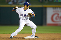 Round Rock Express second baseman Matt Kata #15 turns a double play in the Pacific Coast League baseball game against the Sacramento River Cats on May 24, 2012 at the Dell Diamond in Round Rock, Texas. The Express defeated the River Cats 5-3. (Andrew Woolley/Four Seam Images).